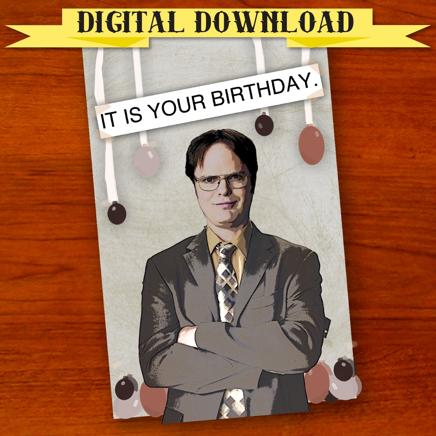 Schrute the office birthday card digital download zoom bookmarktalkfo Gallery