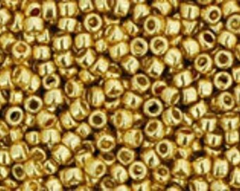 TOHO Japanese Seed Beads - Round 15/0 : PF 557  PermaFinish - Galvanized Starlight Gold - choose your gram weight