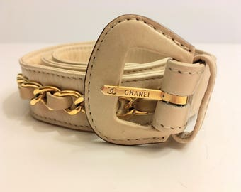 Classic Beige Chanel belt with 24k  gold plated necklace