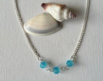 Triple Blue Sea Glass Silver Wire Necklace