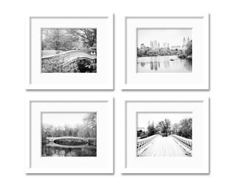 SALE Central Park Prints New York City Prints Set of 4 photos Central Park Photos Black and White New York Photography New York Wall Art