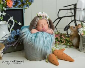 Flower Bonnet, Floral Bonnet, Garden Bonnet, Bunny Bonnet, Sitter Bonnet, Fall Bonnet, Easter Bonnet, Baby Photo Prop Newborn Photo Prop,