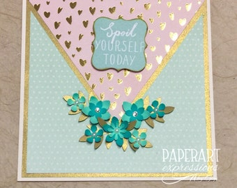 Mint, peach and gold card/Spoil yourself Birthday card/Greeting card