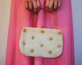 Pastel Beaded Handbag - Vintage