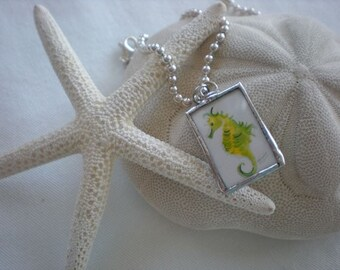 soldered silver charm- seahorse watercolor