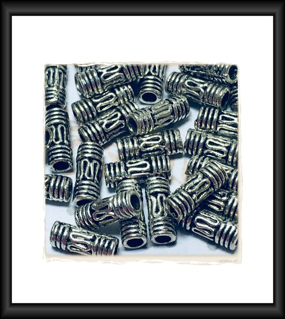 Antique Silver Tone Bali Style Tube Beads 8 x 3 mm , 18 Beads