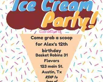 Ice Cream Party invite