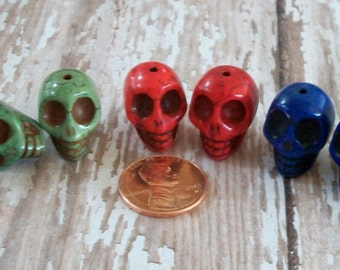 SKULL Multi Colored Pairs Howlite Stone Beads  Jewelry Craft (6 Pieces)