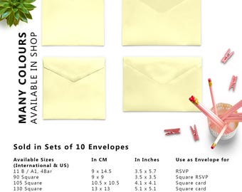 10 x Yellow 4x6 Envelopes, C6 Envelopes, Set of 10 Envelopes