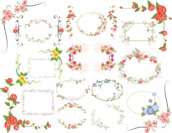 spesso Download immediato: Digtal floreale cornici Clip Art fiore WM59