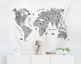world map tapestry world map wall art world map wall hanging world map art world map wall decor
