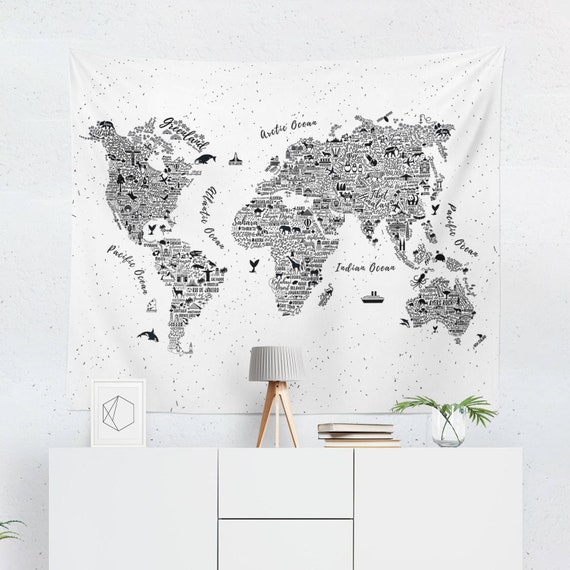 World map tapestry world map wall art world map wall like this item gumiabroncs Images