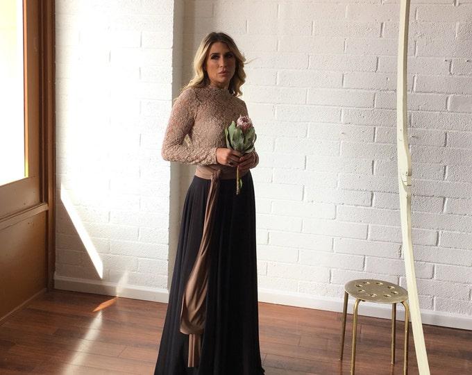 Black Tulle Full Circle High Waist Sash Skirt~ Coralie Beatrix- Custom Choose Fabrics for Bridal Skirt, Bridesmaids, Prom, Formal