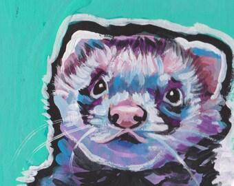 "fun Ferret colorful portrait art print of pop art painting bright colors 12x12"""