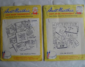2 Aunt Matha's Martha Hot Iron Transfers Embroidery New and Used