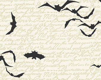 Andover Chillingsworth's Spooky Ride Pattern A-7747L by Echo Park Paper Co CREME Black BAT Fabric