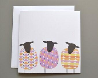 Sheep Birthday Card - Sheep Blank Card - Three 3 patterned Sheep - Notecard - General Card