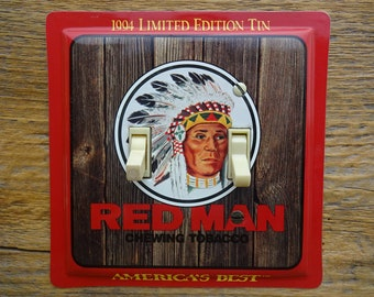 Southwestern Decor Lighting Double Switch Plate Rustic Light Switch Cover Switchplate Red Man Indian America Best Tobacco Tin SP-0364