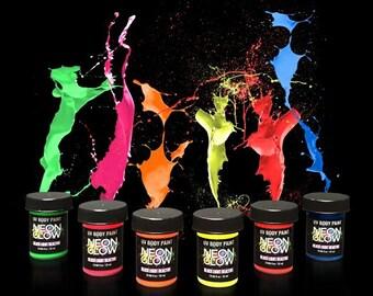 Neon Glow in the Dark (Body Art Paint) #1 Premium Set (6 pack of .75 oz. bottles) UV Blacklight Reactive-Safe and Non-Toxic! Fluorescent Set