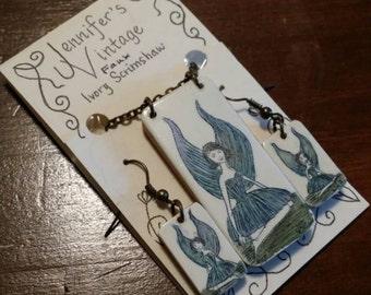 Scrimshaw Jewelry Set Lovely Blue Winged Fairy OOAK