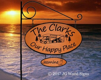 Cedar Camping Sign Etsy - Custom Pine Wide Oval RV Camping Sign with 1 add on board Wood Sign w Sign holder option JGWoodSigns Clark