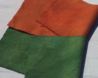 Hand dyed wool fabric - Pumpkin Orange or Sage Green wool - rug hooking - applique and crafts - quilting - primitive quilting  -015