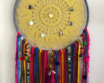Large Dreamcatcher - yellow, mirrored, pom poms (14in)