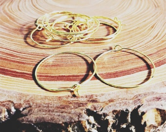 gold finish hoops earwire 25mm - 10 pieces - destash