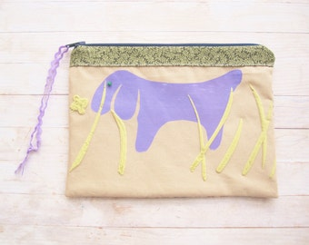 Cosmetic bag pencil case make-up carry-all pouch dog dachshund daxie teckel purse wiener sausage lilac green beige brown kids kawaii gift