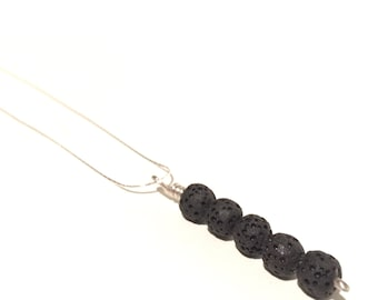 Aromatherapy Diffuser 16 Inch Sterling Silver & Lava Bead Necklace - Reiki Infused