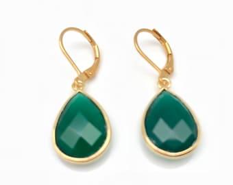 Green Onyx Earrings // Gold Fill Findings // Wire-wrapped Green Onyx Earrings // Lever Backings