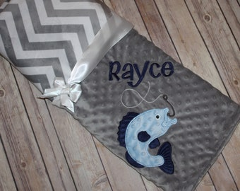 Fishing -Personalized Minky Baby Blanket - Gray Minky/ Gray and White Chevron Minky - Embroidered Bass Fish
