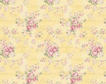 Ruru Bouquet Prima  Lace Ribbon and Rose Bouquets Yellow Cotton Fabric Rose ru2260-16B