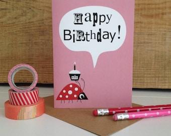 Ladybird 'Happy Birthday' Card- Kids Birthday Card- Cute Birthday Card- Birthday Card For Teens- Pink Cheerful birthday card- Card For Her