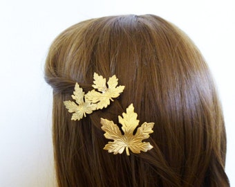 Maple Leaf Hair Clips Bridal Barrettes Bride Bridesmaid Gold Leaves Autumn Fall Rustic Woodland Wedding Accessories Womens Gift For Her