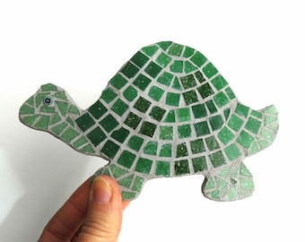 Turtle coaster, mosaic turtle, turtle wall hook, children's room decor, turtle display, mosaic coaster, glass coffee table coaster