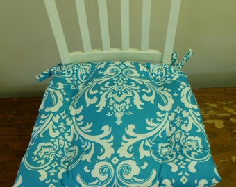 Tufted chair pad seat cushion, Ozborne turquiose blue and white cotton