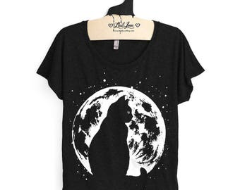 Womens Small- Heather Black Scoop Neck Dolman Tee with Cat Moon Screen Print
