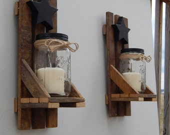 Mason Jar Candle Holder, Wall Sconce With Shelf and Star. Set of 2! Made With Reclaimed Tobacco Stick/ Tobacco Lath Wood