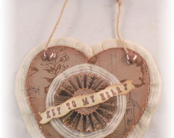 Key To My Heart Valentine, collage heart, decor art work