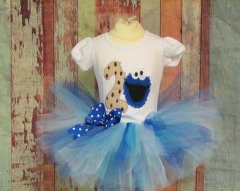 Cookie Monter  tutu outfit , Sesame Street Tutu outfit