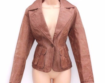 Vintage Women's CASUAL WEAR Fitted Hip Length Riding Biker Brown Real Leather Jacket Blazer Coat Size UK14