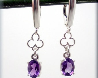 Purple Amethyst Earrings, Oval Cut, Sterling Silver, February Birthstone Earrings, February Birthday Gift for Her, Gemstone, Leverback