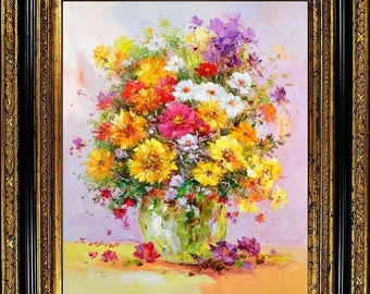Wooden Framed Impressionist Flower Still Life Oil On Canvas Painting E.Colton Signed