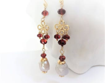 RED QUEEN Garnet & Baroque Pearl Earrings, Bali Gold Vermeil, Mozambique Red Garnet, gifts for her