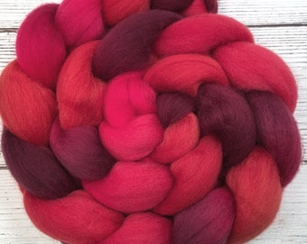 Handpainted Polwarth Wool Roving - 4 oz. HOT LIPS- Spinning Fiber