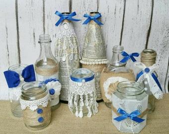 set of 10 shabby chic rustic mason jars, rustic wedding decor, wedding mason jars, mason jar centerpieces, country wedding decor ideas