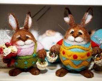 Needle Felted/ egg/ rabbit/ bunny/ hare/Easter decoration/Easter ornament/handmade gift