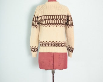 Vintage Oatmeal & Brown Geometric Wool Sweater // Vintage Sweater - S