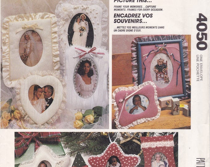 FREE US SHIP McCalls 4050 Sewing Pattern Picture This Fabric Frames Holiday Christmas Victorian Baby Nursery Uncut Factory Folded 1980's